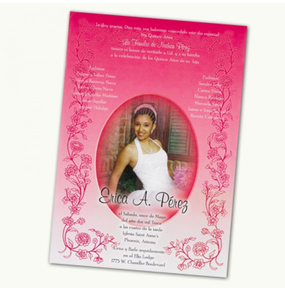 Quinceanera Scroll Invitations Hot Pink Purple Turquoise Lime