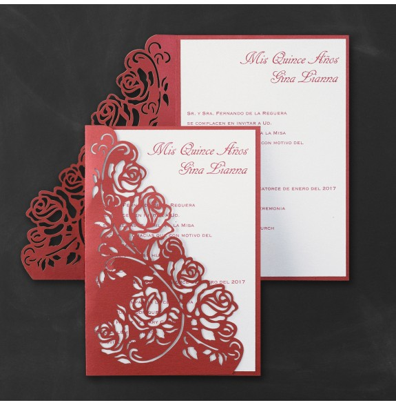 regal roses quinceanera invitation