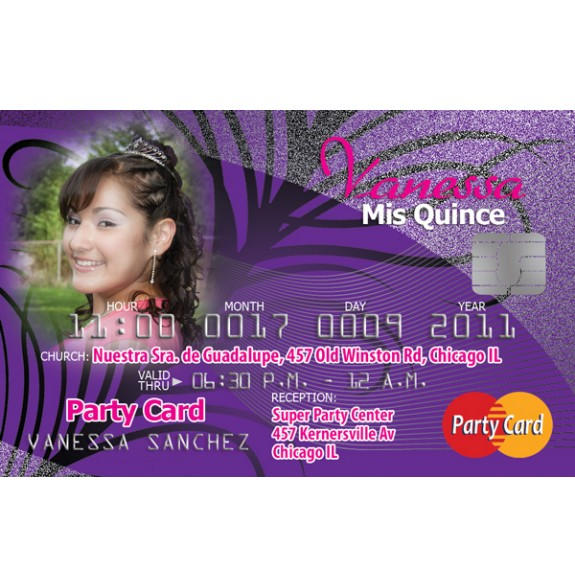 Credit Card Sweet 15 Invitations
