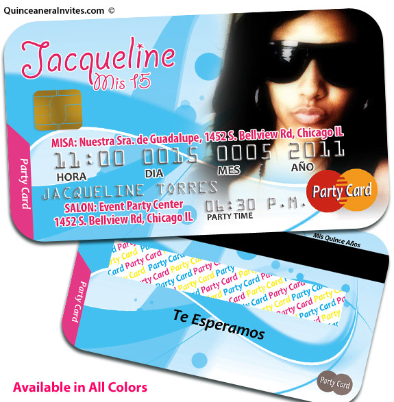 credit card quinceanera invitations