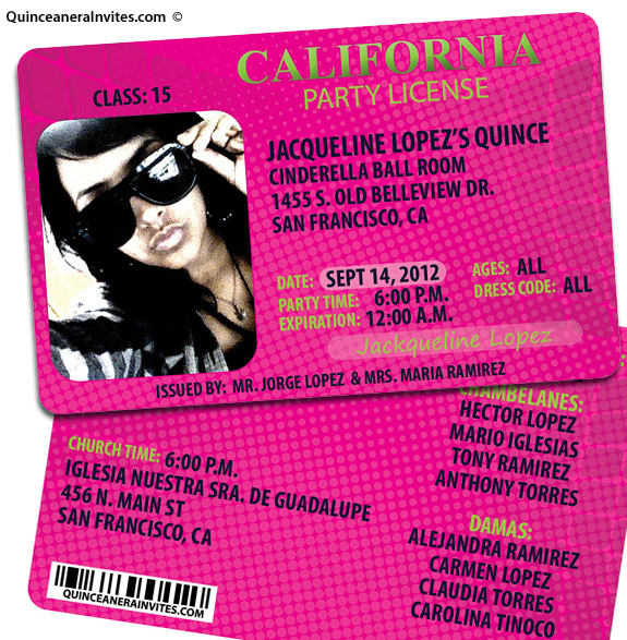 party license quinceanera invitations, Quinceanera invitations