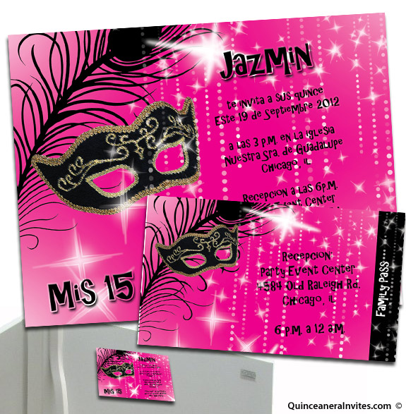 Magnet Party Invitations with Passes – Quinceanera Party Invitations