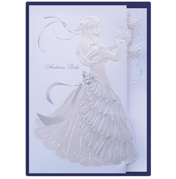 muneca girl with roses silver and cream quinceanera invitations