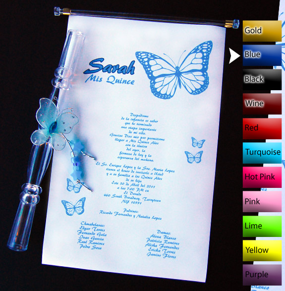 scroll quinceanera invitations with butterflies
