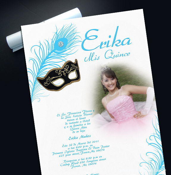Masquerade Quinceanera Scrolls with Silver Cord