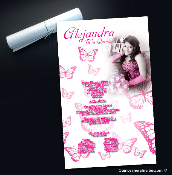 Elegant Butterlfy Quinceanera Scrolls with Silver Cord