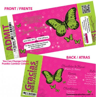 Invitacion con Mariposas tipo Ticket