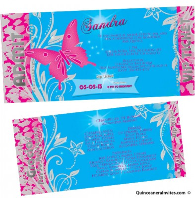 butterfly ticket vip quinceanera invitations