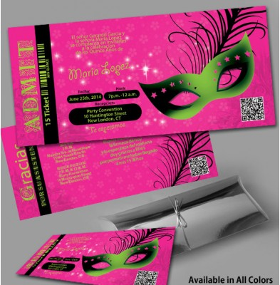 Masquerade Party Ticket In Silver Box