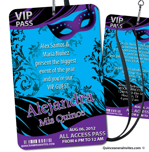 vip pass masquerade party invitations