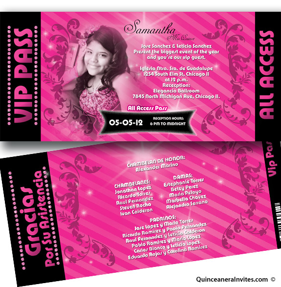 Top All Access Vip Pass Quinceanera Invitations JD41